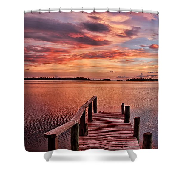A View To The Bay - Sunset Clouds Shower Curtain