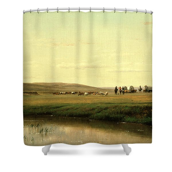 A Wagon Train On The Plains Shower Curtain