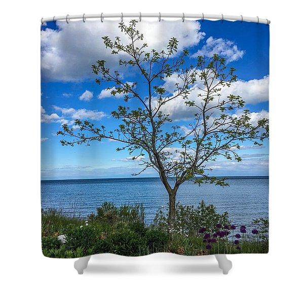 A Walk Along Lake Michigan Shower Curtain