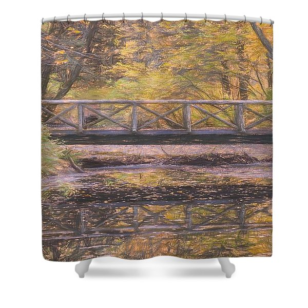 A Walking Bridge Reflection On Peaceful Flowing Water. Shower Curtain