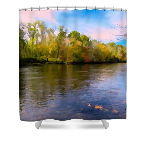 A Wide Scenic View Of Shetucket River. Shower Curtain