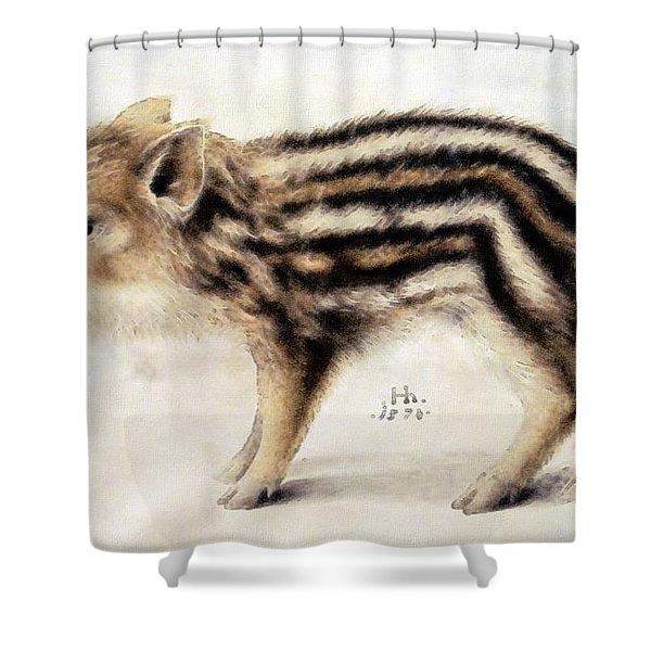 A Wild Boar Piglet Shower Curtain