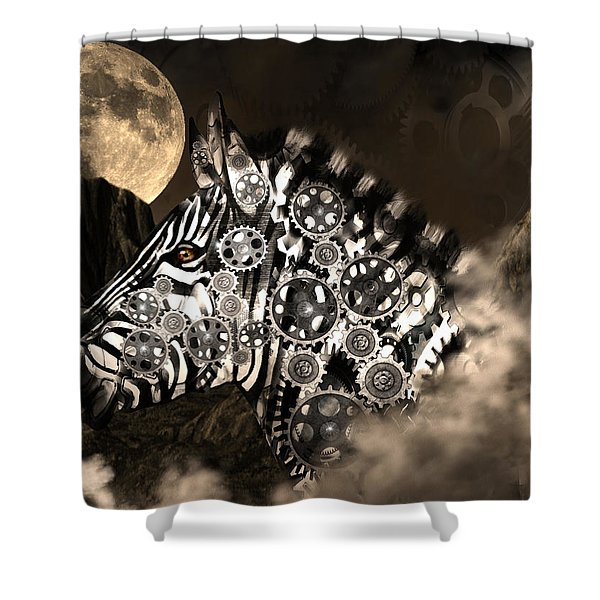 A Wild Steampunk Zebra Shower Curtain
