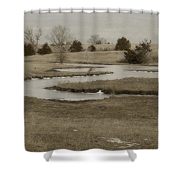 A Winding Creek In Winter As Geese Fly Overhead Shower Curtain