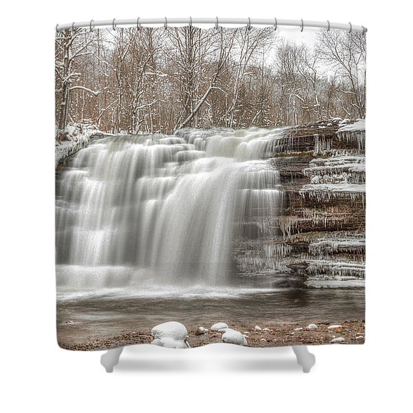 A Winter Waterfall - Color Shower Curtain