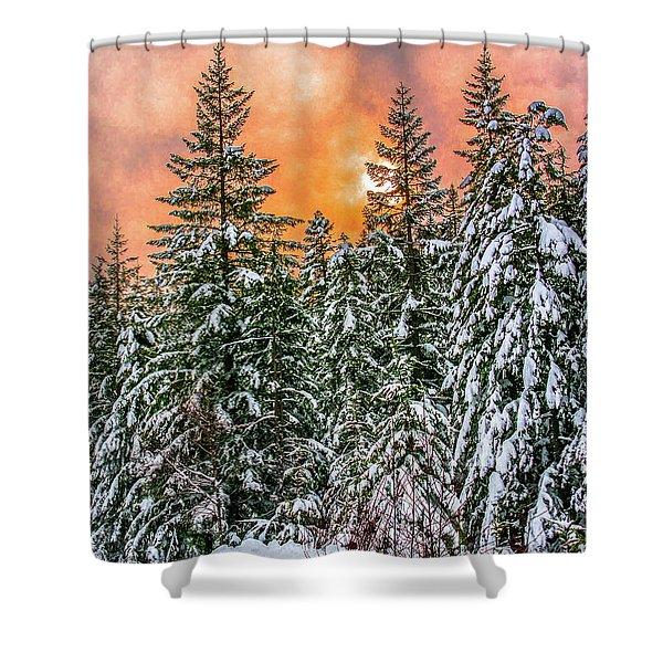 A Winters Sky Set Ablaze Shower Curtain
