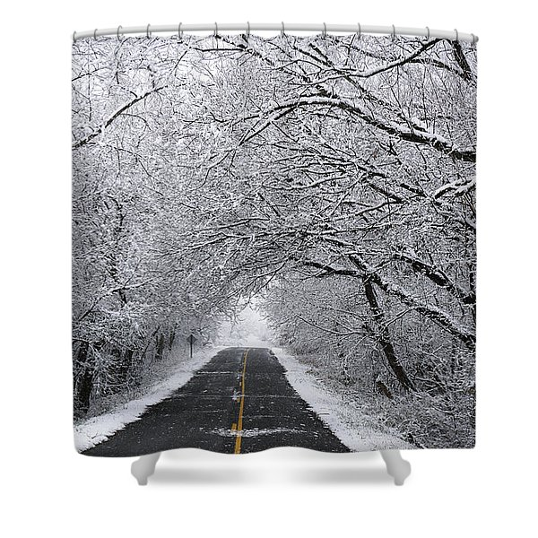 A Winter's Travel Shower Curtain
