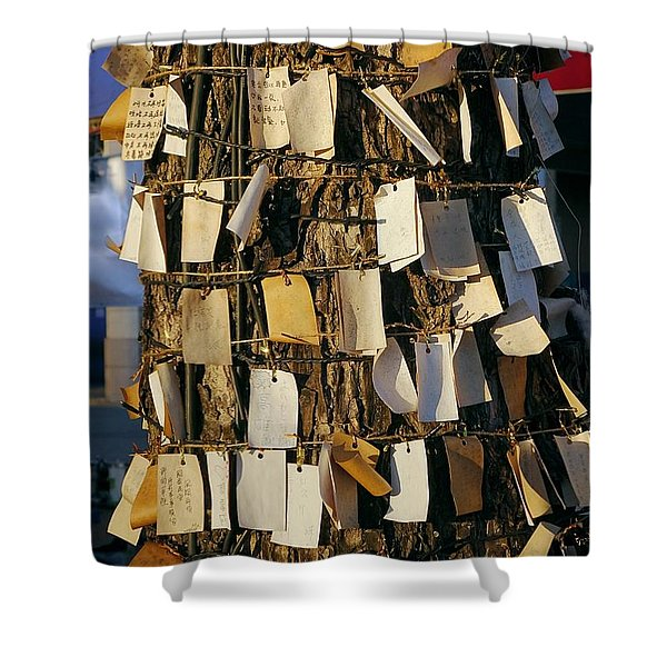 A Wishing Tree With Many Requests Shower Curtain