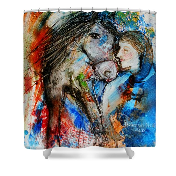 A Woman And Her Horse Shower Curtain