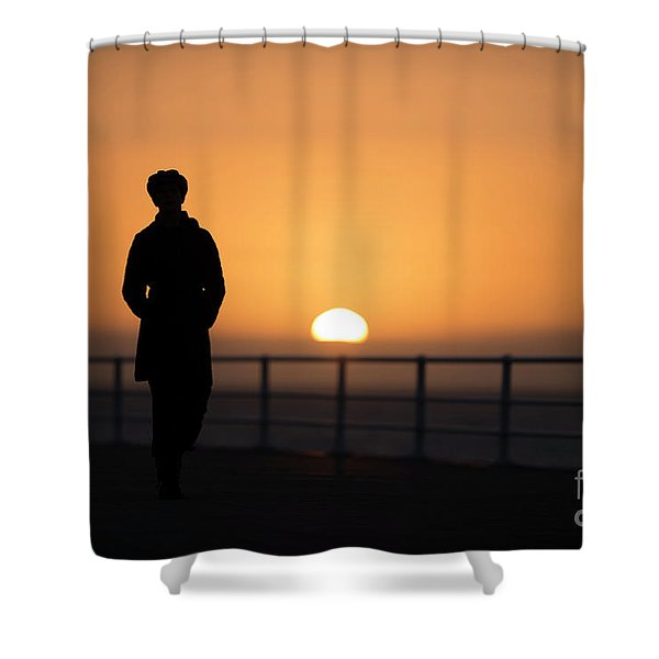 A Woman Silhouetted At Sunset Shower Curtain