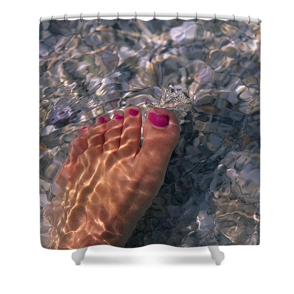 A Womans Foot In The Warm Water Shower Curtain