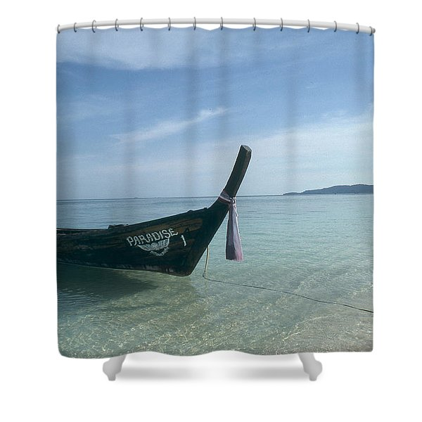 A Wooden Boat Named Paradise Shower Curtain