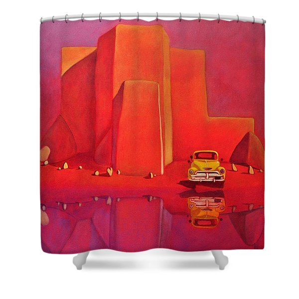 A Yellow Truck With A Red Moon In Ranchos Shower Curtain