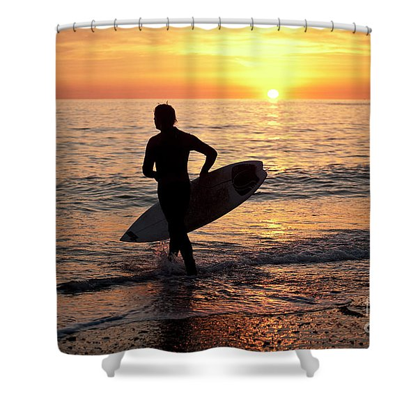 A Young Man Surfing At Sunset Off Aberystwyth Beach, Wales Uk Shower Curtain