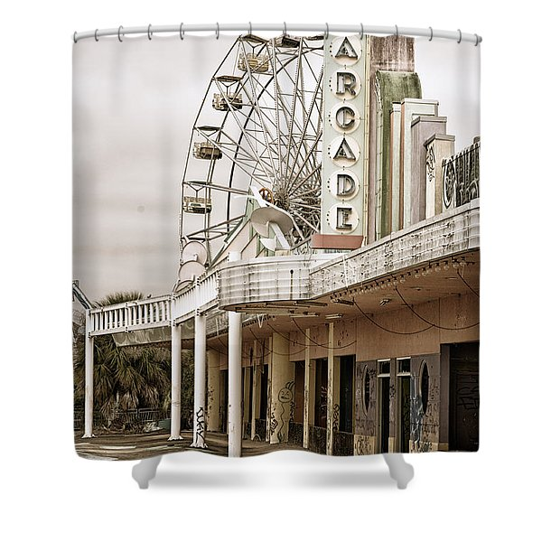 Abandoned Arcade And Ferris Wheel Shower Curtain