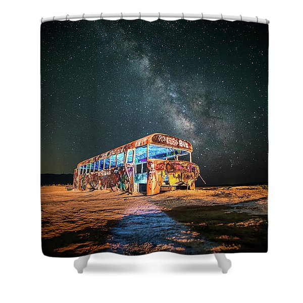 Abandoned Bus Under The Milky Way Shower Curtain