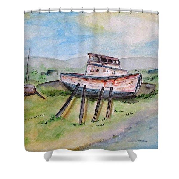 Abandoned Fishing Boat Shower Curtain