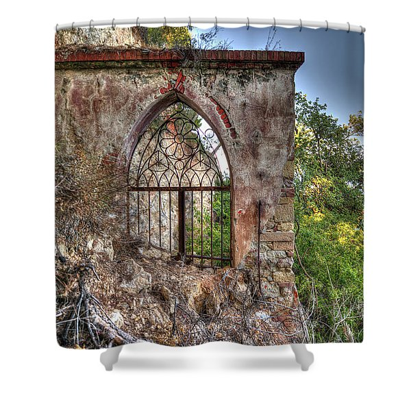 Abandoned Places Iron Gate Over The Sea - Cancellata Sul Mare Shower Curtain