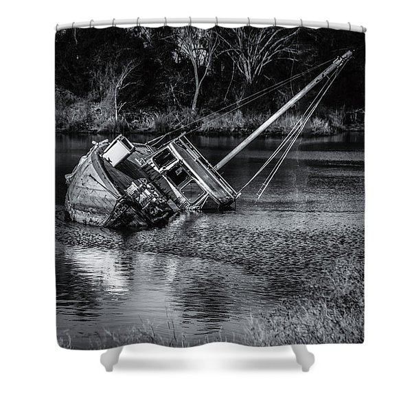 Abandoned Ship In Monochrome Shower Curtain