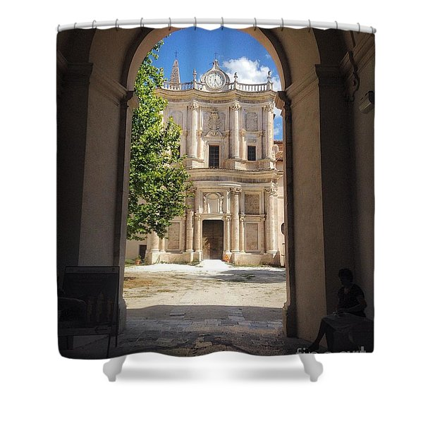 Abbey Of The Holy Spirit At Morrone In Sulmona, Italy Shower Curtain