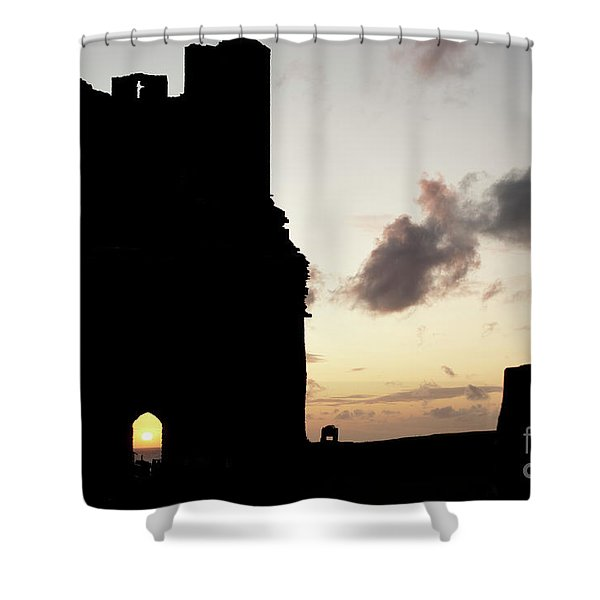 Aberystwyth Castle Tower Ruins At Sunset, Wales Uk Shower Curtain