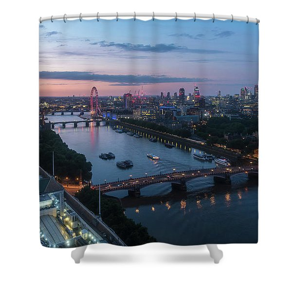 Above London Along The Thames At Dusk Shower Curtain