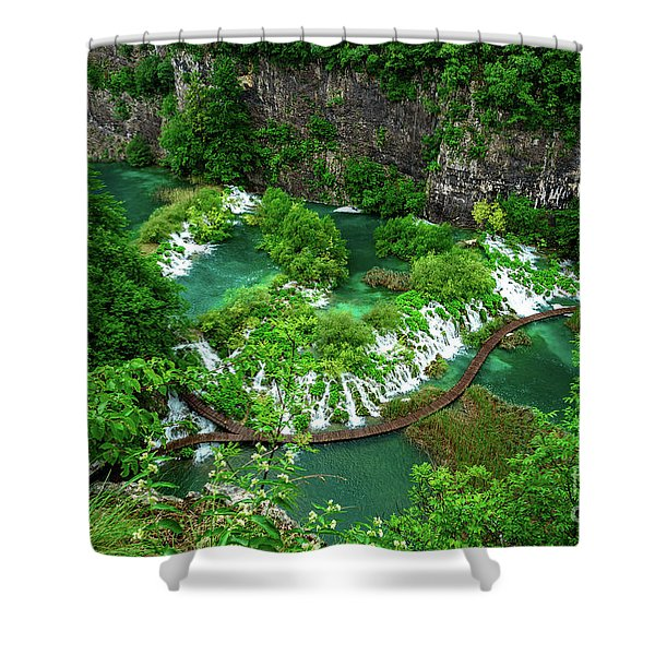 Above The Paths And Waterfalls At Plitvice Lakes National Park, Croatia Shower Curtain