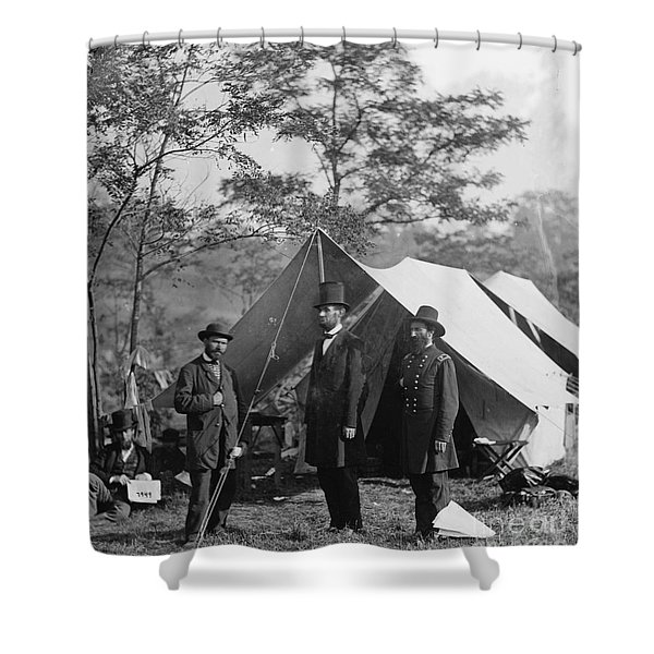 Abraham Lincoln With Allan Pinkerton And Major General Mcclernand At Antietam, 1862 Shower Curtain