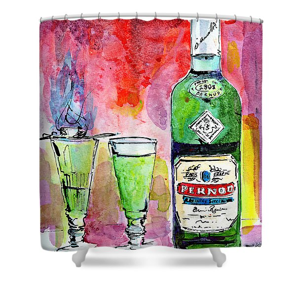 Absinthe Bottle And Glasses Watercolor By Ginette Shower Curtain