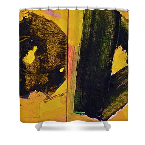 Shower Curtain featuring the painting Abstract 2071-diptych by Cliff Spohn