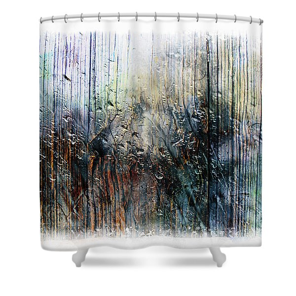 2f Abstract Expressionism Digital Painting Shower Curtain