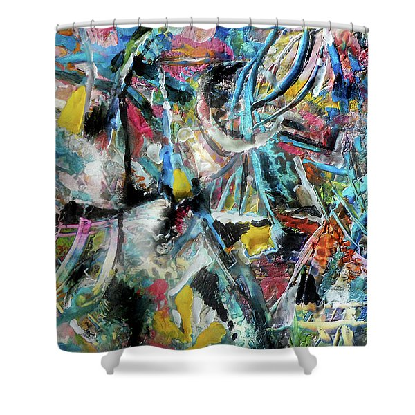 Abstract 301 - Encaustic Shower Curtain