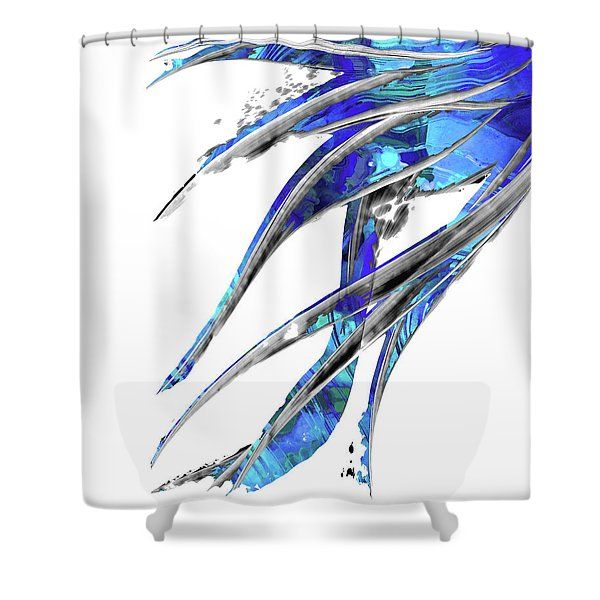 Abstract Art Blue And White - Flowing 5 - Sharon Cummings Shower Curtain