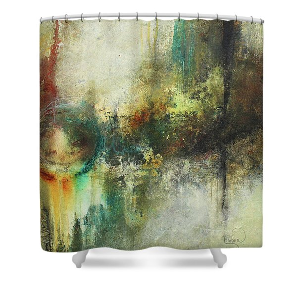 Abstract Art With Blue Green And Warm Tones Shower Curtain