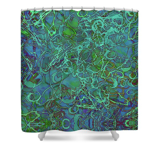 Abstract Azurite Shower Curtain