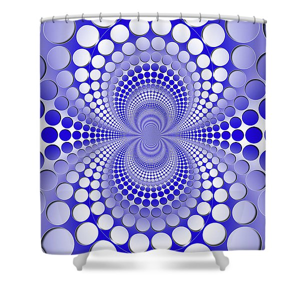 Abstract Blue And White Pattern Shower Curtain