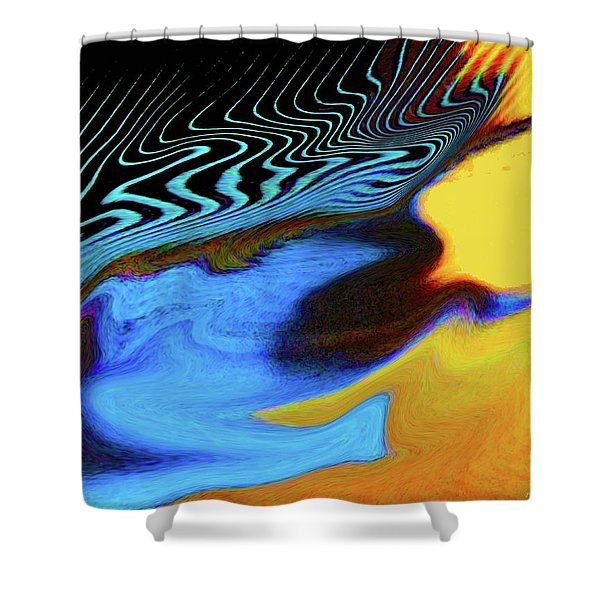 Abstract Blue Bird Feather Shower Curtain