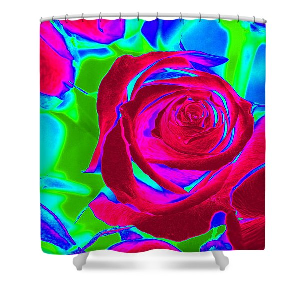 Burgundy Rose Abstract Shower Curtain