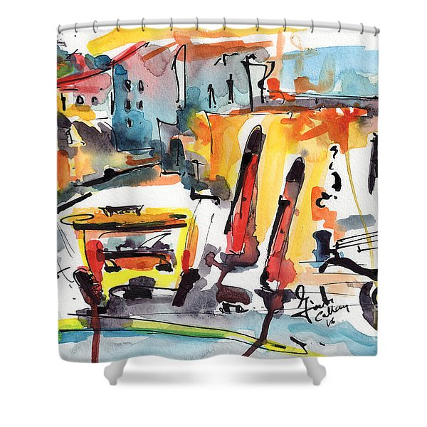 Abstract City Streets 1 Modern Art Shower Curtain