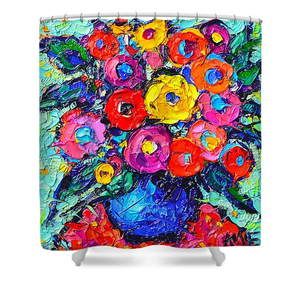 Abstract Colorful Wild Roses Modern Impressionist Palette Knife Oil Painting By Ana Maria Edulescu  Shower Curtain