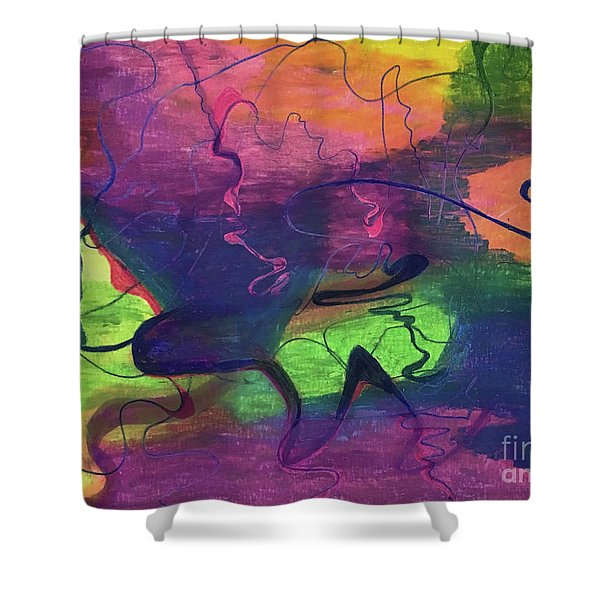 Colorful Abstract Cloud Swirling Lines Shower Curtain