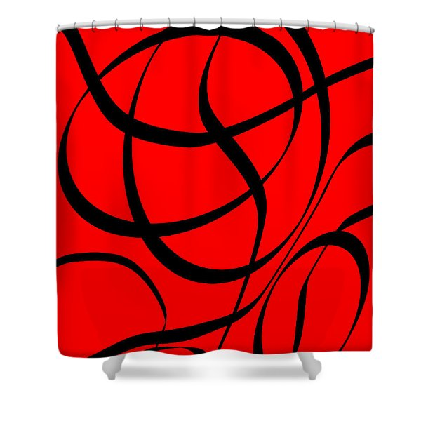 Abstract Design In Red And Black Shower Curtain