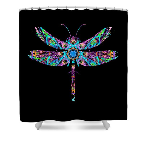 Shower Curtain featuring the digital art Abstract Dragonfly by Deleas Kilgore