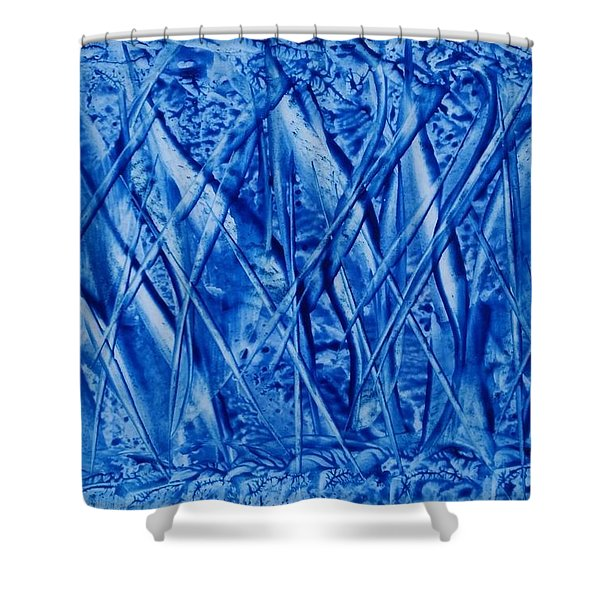 Abstract Encaustic Blues Shower Curtain