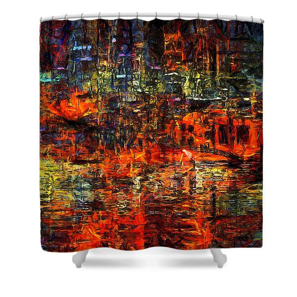 Abstract Evening Shower Curtain