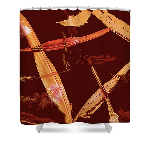 Abstract Feathers Falling On Brown Background Shower Curtain