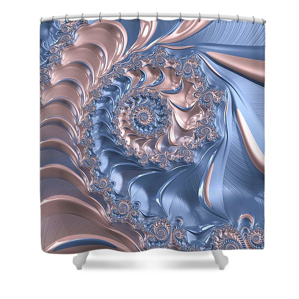 Abstract Fractal Art Rose Quartz And Serenity  Shower Curtain