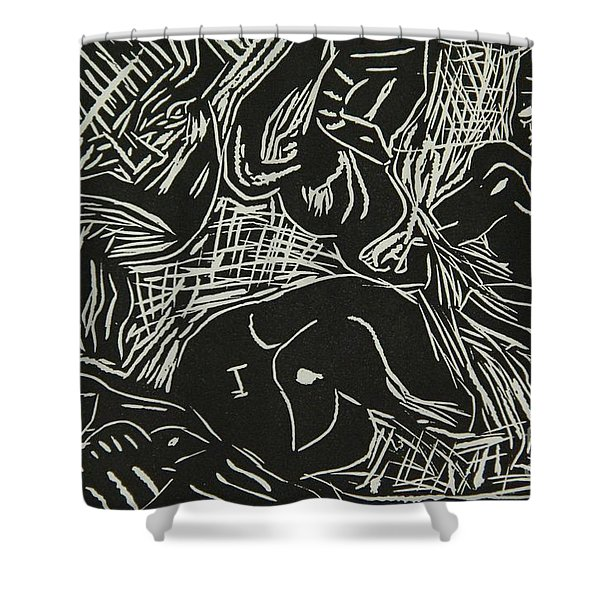 Abstract Greece Inspired Black And White Linoleum Print Cropped Shower Curtain