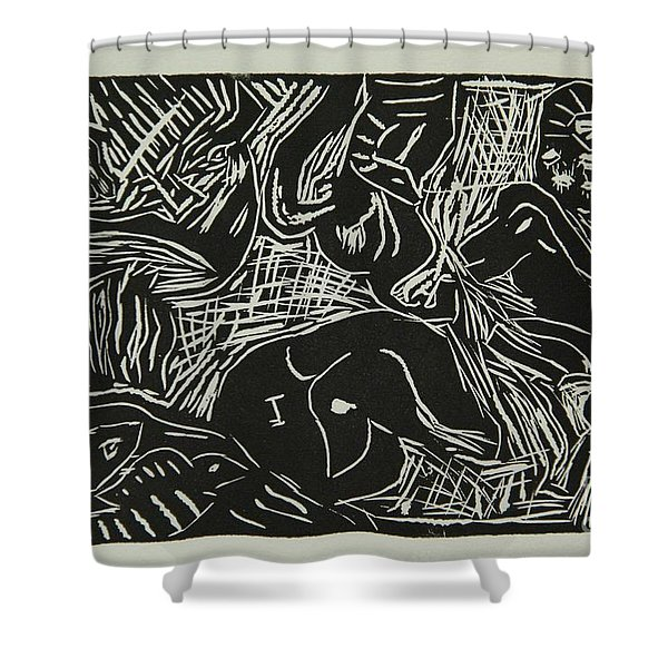 Abstract Greece Inspired Black And White Linoleum Print Shower Curtain