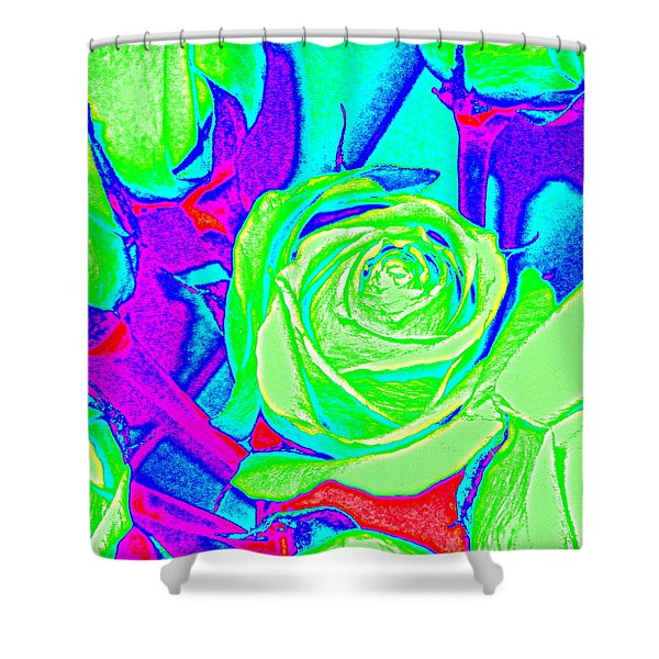 Abstract Green Roses Shower Curtain